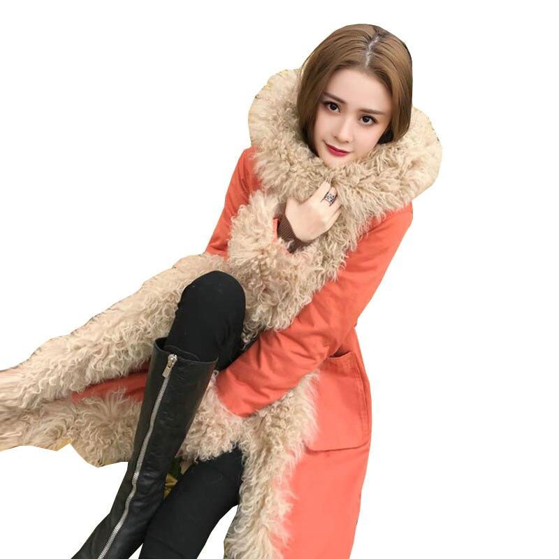 Inverno Donna Plus size Spiaggia Lana Piumini Cappotto Lungo 2018New di Alta qualità Caldo di Spessore Parka Femminile Incappucciato Allentato Overcoat309