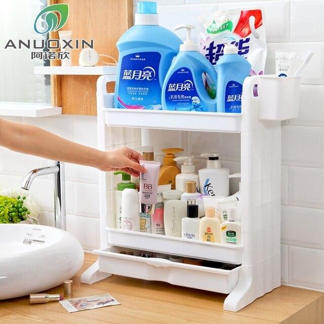Bathroom Washbasin Desktop Plastic Shelf Floor Wash Station Cosmetics Countertop Storage Rack