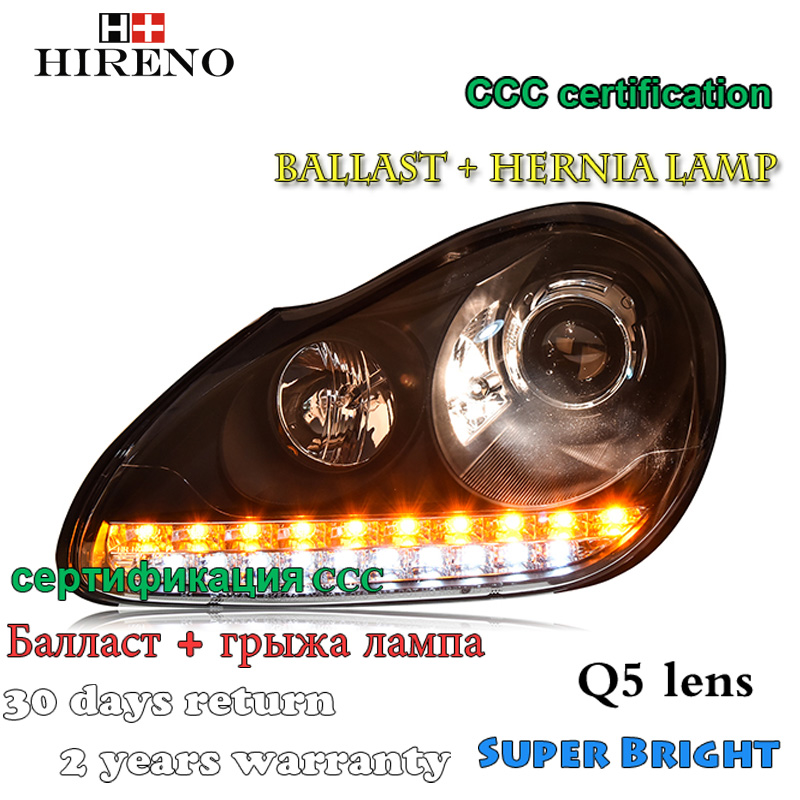 Hireno Car styling Headlamp for Porshce Cayenne 2004-2006 Headlight Assembly LED DRL Angel Lens Double Beam HID Xenon 2pcs hireno car styling headlamp for 2003 2007 honda accord headlight assembly led drl angel lens double beam hid xenon 2pcs