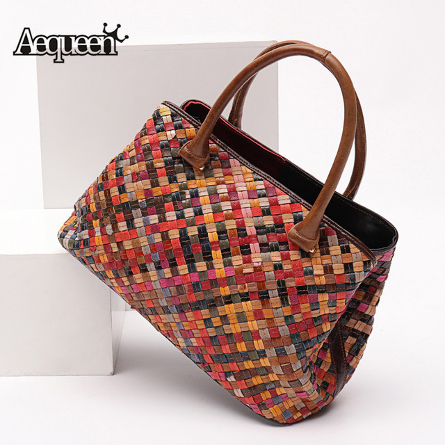 Aequeen Weave Handbags Design Women Bags Cow Leather Shoulder Bag For Las Multicolor Crossbody High