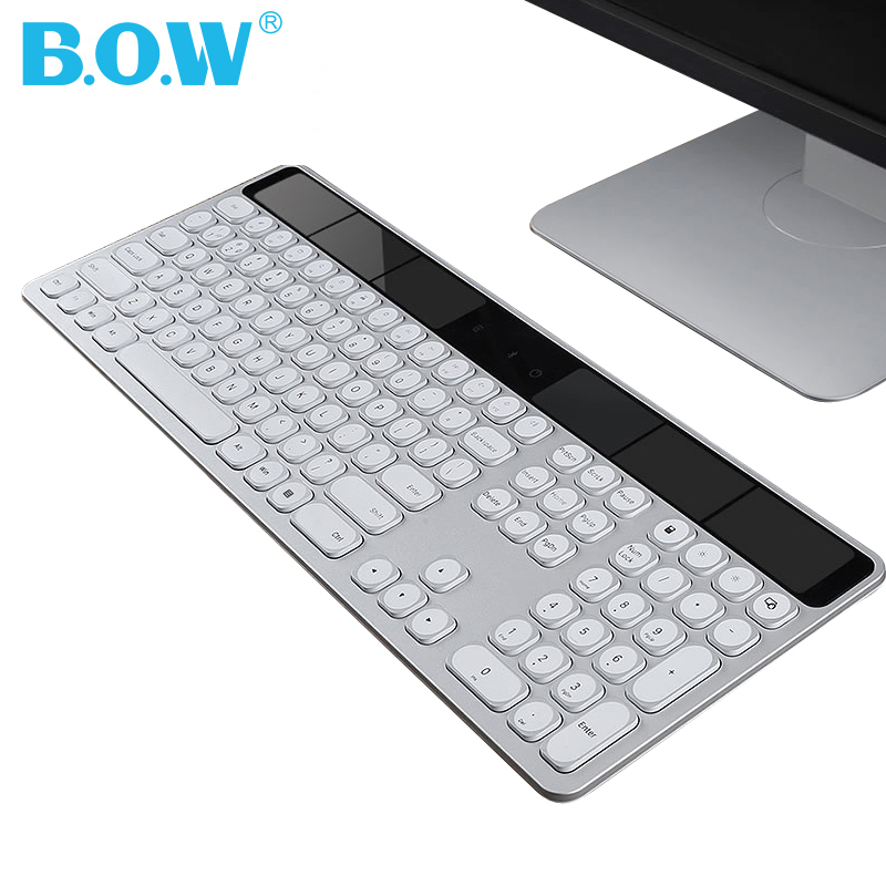 B O W Solar 24 Ghz 110 keys Full size Wireless Keyboard Ultra thin Sleek style