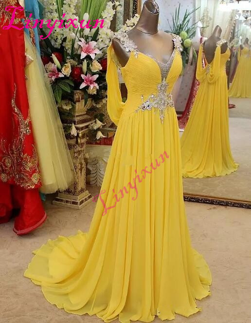 2018 Real Picture Beading Yellow   Prom     Dresses   Long V Neck Crystal Chiffon Backless Evening Formal Wear Party Gown Pageant   Dress