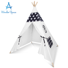 Kids Teepee Play Tent - 100% Cotton Canvas Handcrafted Children Tipi Playhouse Blue Star Indoor Outdoor Toy Boys Girls Baby Gift blue grid teepee tent for kids boys tipi tent wigwam playhouse