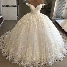 Doragrace vestido de noiva Real Photo Applique Lace V-Neck Off-Shoulder Princess Wedding Gowns Ball Gown Dresses