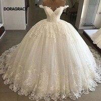 Doragrace vestido de noiva Real Photo Applique Lace V Neck Off Shoulder Princess Wedding Gowns Ball Gown Wedding Dresses