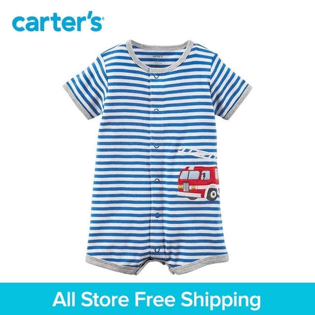 29e4e58823287 1pcs sweet stripes and firetruck applique Snap-Up Cotton Romper Carter's  baby boy Summer jumpsuits clothing 118H889