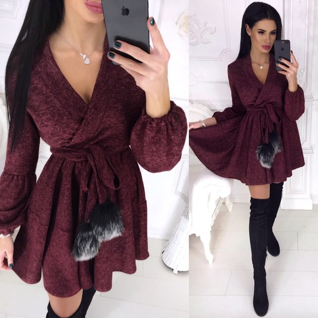 New Spring Winter Women Colors Cotton Sashes Hairball V-neck Fit and Flare Casue Warm Long Sleeve Dress Sexy elegant Vestidos
