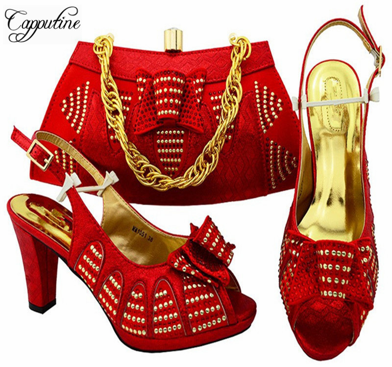 Capputine African Style PU Leather Shoes And Bag Set Italian Red Color  High Heels Shoes With Matching Bags For Party MM1051 something red wedding shoes customized sparkly diamond red high heels platfrom party evening shoes italian shoes and bag set