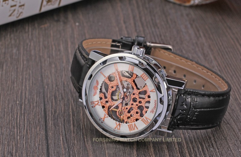 Winner Men Automatic Watch Silver Case White Dial Rose Numerals