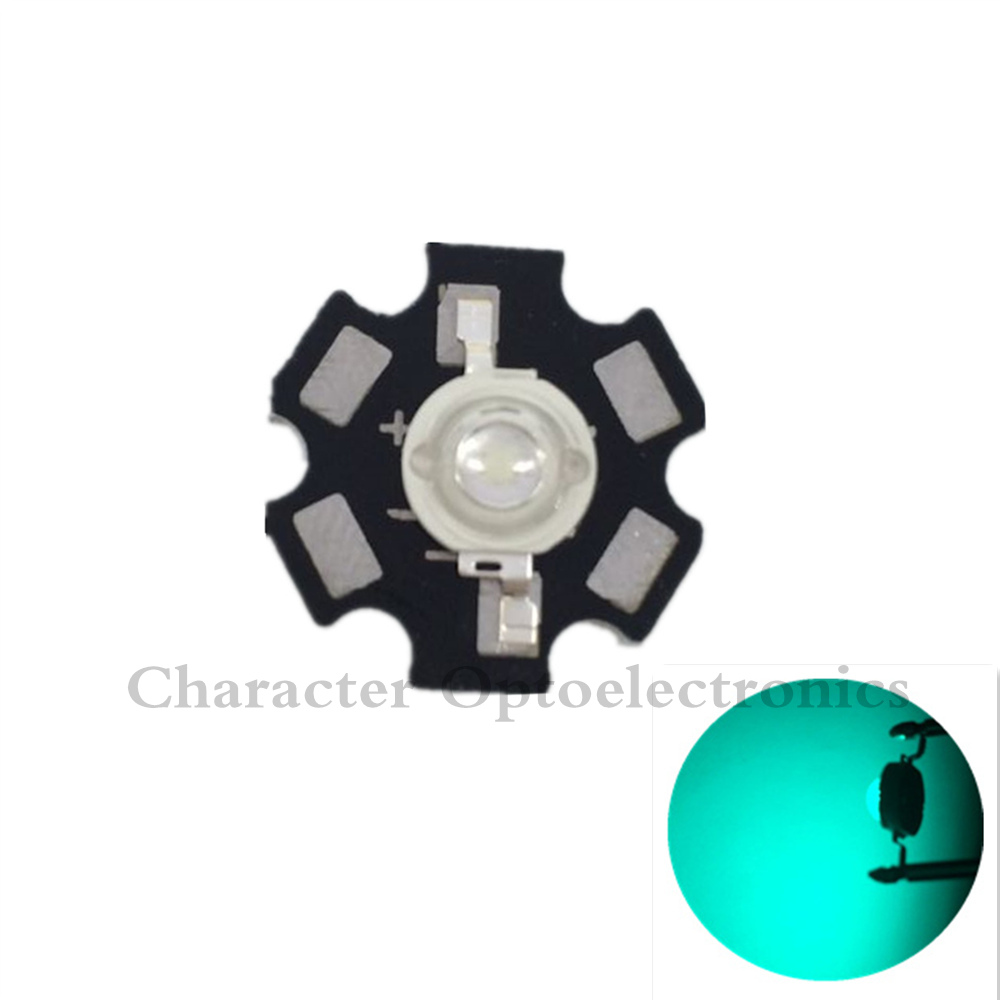 10pcs 3W <font><b>490nm</b></font> - 495nm Cyan Color High Power <font><b>LED</b></font> Light Emitter Diode with/ no 20mm Star PCB image