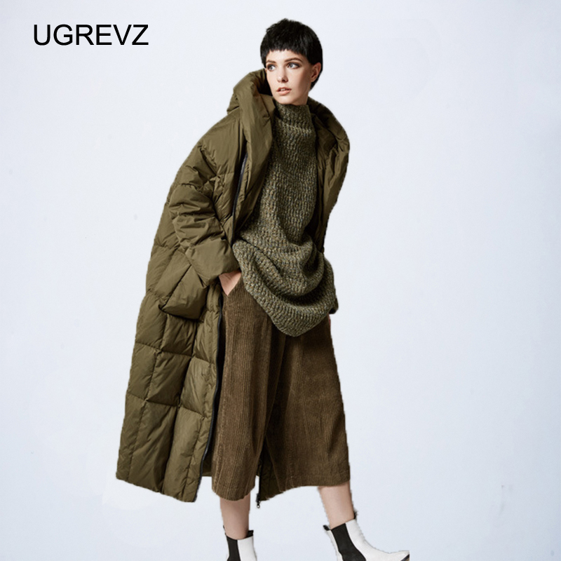 Женское Свободное длинное пуховое пальто, зимняя теплая куртка большого размера, зимняя куртка, Женская стеганая парка с капюшоном, 2019