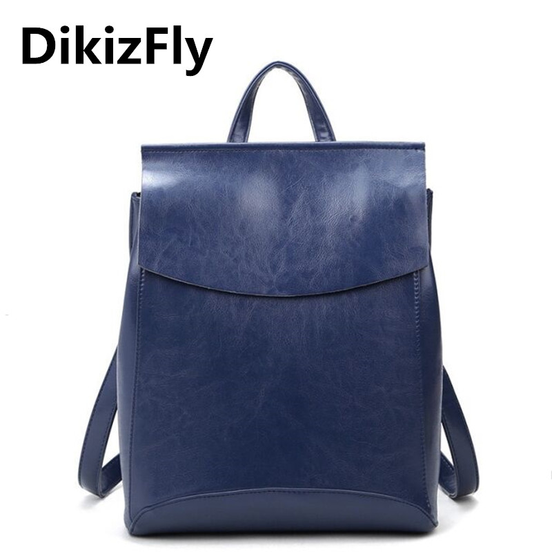 DikizFly! Famous Brand Backpack Women Backpacks New Arrival Fashion Solid Vintage School Bags For Girls PU Leather Backpack