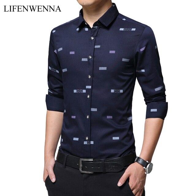 f8776ec960a 2019 Autumn New Fashion Print Men s Shirt Casual Brand Long Sleeve Shirt  Mens Clothes Slim Fit Business Office Shirts Men M-5XL