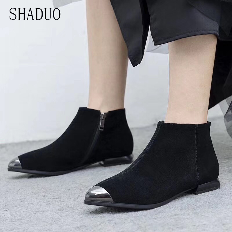 2018 shaduo women Frosted leather wedge zipper booties