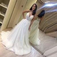 Robe de mariee A Line White Ivory Wedding Dresses 2019 Charming Wedding Dresses V neck Spaghetti Straps Appliques Bridal Gowns