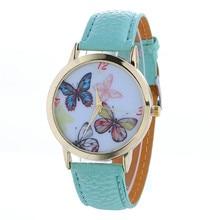 Women Watch Butterfly Pattern Fashion Women Colored PU Leather Watch  relogio feminino Gift dropshipping free shipping  #60