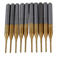 3.175mm Corn Teeth TiN Coated Carbide Milling Cutter Router Drill Bit Blade Dia 1.0mm Pack of 10