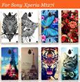 For Sony Xperia sola MT27i case cover,New arrival 14 patterns painting colored tiger owl rose hard pc case for sony MT27i cover