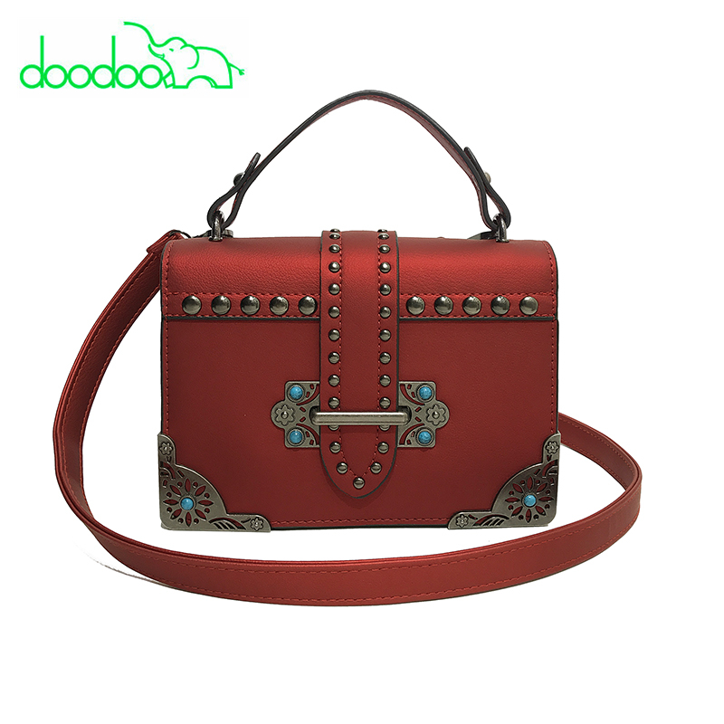Female Brand Hand Bag Woman Messenger Bags Lady Rivet Chain Women Fashion Leather Should ...
