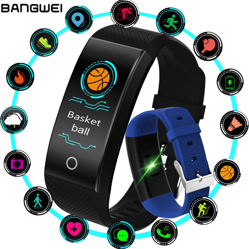 New BANGWEI Fitness Smart Bracelet Heart Rate Monitor Blood Pressure Fitness Tracker Smart band Sport Watch for ios android Swim