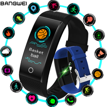 New BANGWEI Fitness Smart Watch Heart Rate Monitor Blood Pressure Fitness Tracker Smart band Sport Watch for ios android Swim
