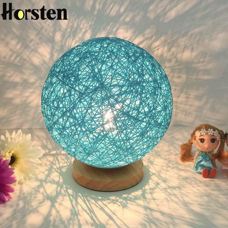 Хорстен деревянный настольная лампа 20 см несколько Цвета белье Тканые Ball абажур Спальня ночники деревянный стол света E27 AC100-240V