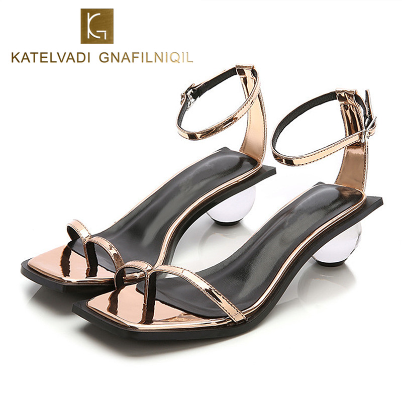 Summer Ladies Shoes Woman Fashion Women PVC Round Heel Gladiator Sandals For Woman Transparent High Heels Sandals Big Size K-202