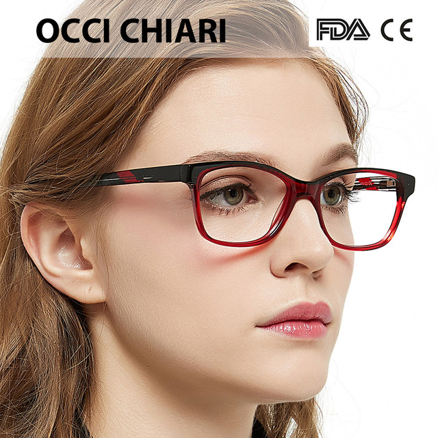 d345da1aa521 OCCI CHIARI Italy Design Acetate Optical Glasses Frames Spring Hinge Oculos  Lunettes Gafas Girls Eyewear Red