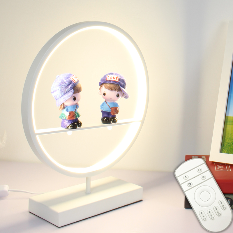 Modern Round  LED Desk Lamps with Cute Figurines for Bedroom Wedding Art Decor Bedside Table Lamp Light Fixtures Remote Control xiaomi mi smart led desk lamp table english version lamps desk light smartphone app remote control with redmi 4 lighting mode