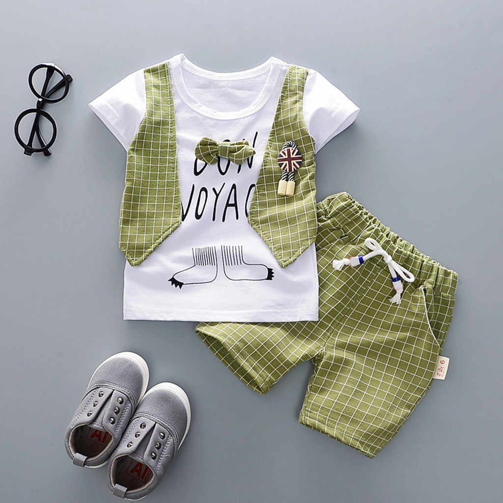 Summer 2020 lattice Casual Kid Boy Outfits O-Neck Regular Short Sleeve Letter Clothes And Plaid Shorts Children Toddler Boy Set