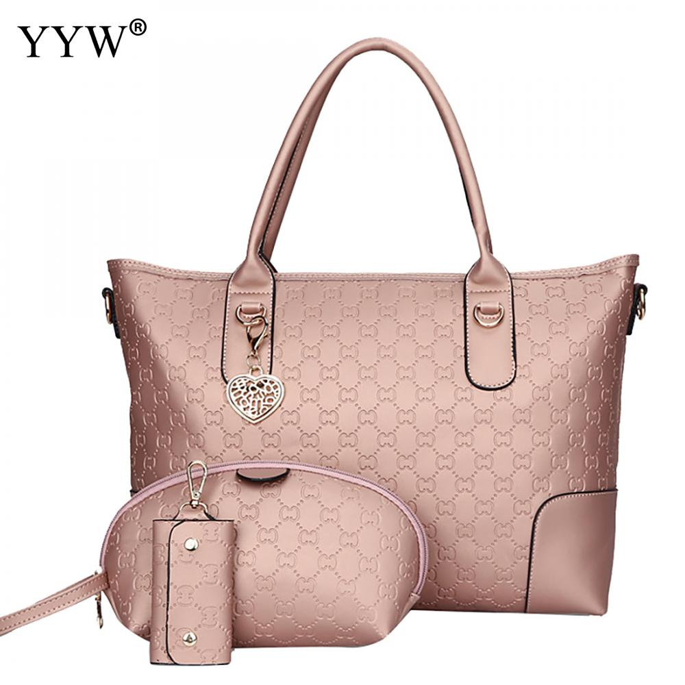 3 PCS/Set Solid Color PU Leather Handbags Women Bag Set Famous Brands Tote Bag Lady's Clutch Bags and Key Wallet Womens'Pouch