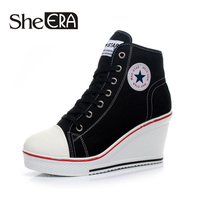 Free Shipping 2016 Badge Wedges High Lacing Casual Elevator Shoes Female Canvas Shoes High Top Wedge