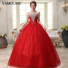 VAMOLASC Crystal Strapless Lace Ball Gown Wedding Dresses Sequined Off The Shoulder Bow Backless Bridal Gowns