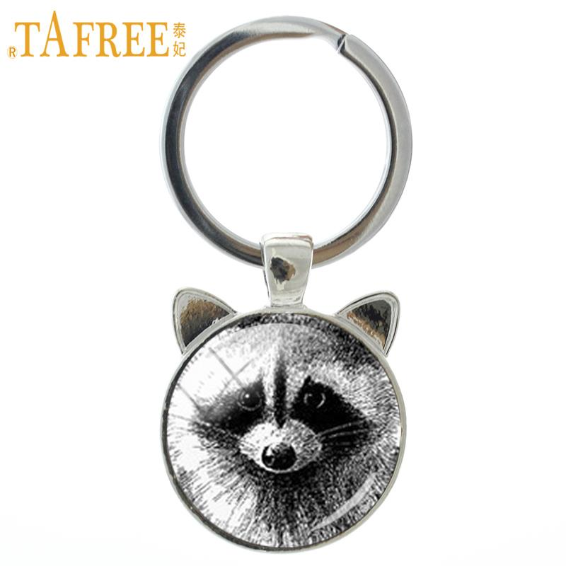 TAFREE Vintage Charm Pencil Art Raccoon Keychain Retro Wild Animal Glass Dome Cat Ear Key Chain Ring Men Women Jewelry CN140