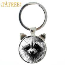 Raccoon Keychain Jewelry Pencil-Art Charm Animal CN140 Vintage Women TAFREE Glass Ear-Key