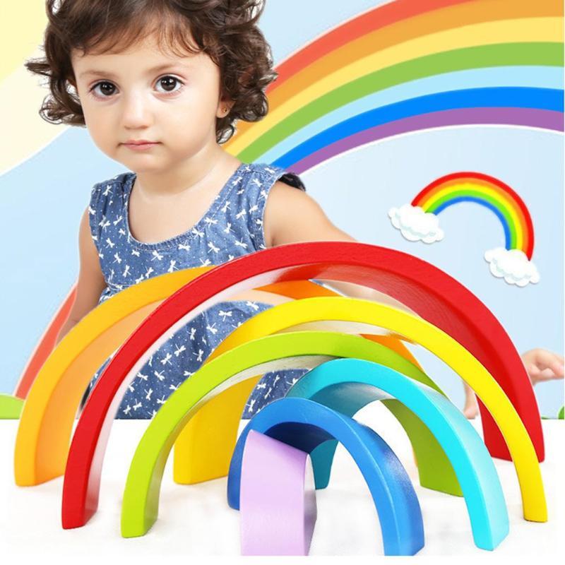 VKTECH Holz Blöcke Spielzeug Montessori Kreative Regenbogen Montage Blöcke Säuglings Frühen Pädagogisches Spielzeug für Kinder Weihnachten Geschenke