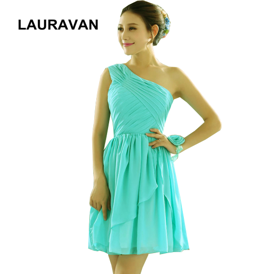 womens elegant short turquoise chiffon knee length one shoulder   bridesmaid     dresses   latest   dress   designs of party free shipping