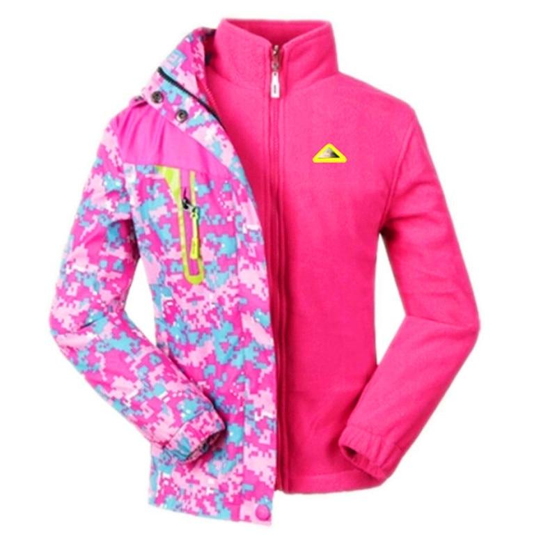 все цены на Child Coat Pattern Girls Jacket Kids Windbreaker Children Rain Suit Fleece Liner Waterproof Windproof Pink Hooded Sport Jacket онлайн