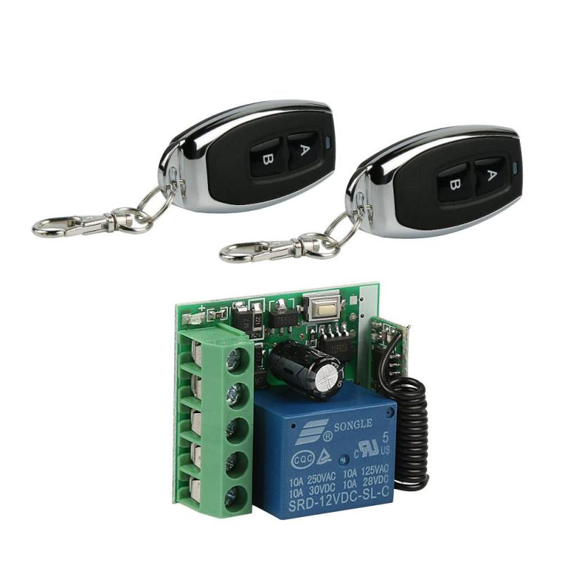 433 MHz RF 2 Channel Remote Control Switch Learning Code EV1527 Key Fob Transmitter And DC 12V 1 Channel Relay Receiver Module