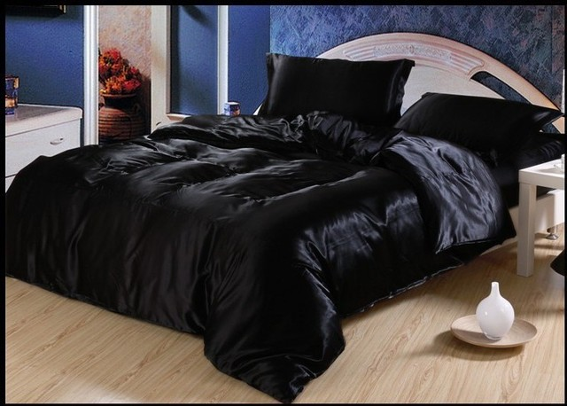 Luxury black Natural mulberry silk bedding set king size ...