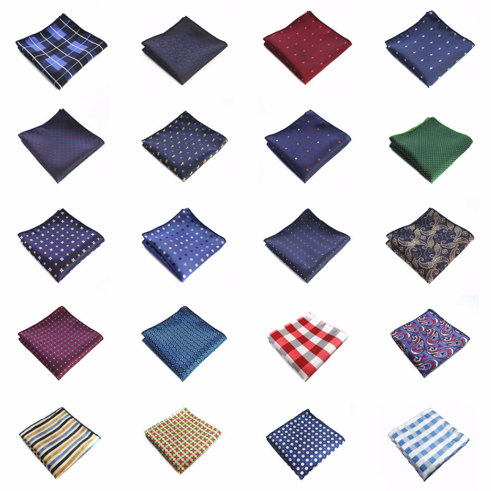 GF21-42 New Mens 100% Silk Handkerchiefs Floral Dots Stripes Checks Pocket Squares For Suits Jackets Wedding Party Business
