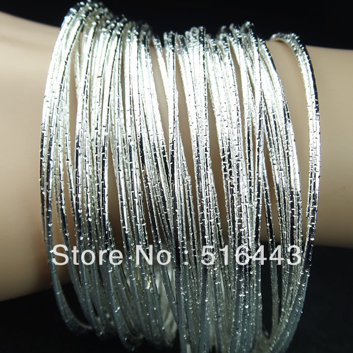 Hot Sale 60pcs Charms Frosted Silver Plated Bangles Bracelets for Womens Wholesale Fashion Jewelry A-240