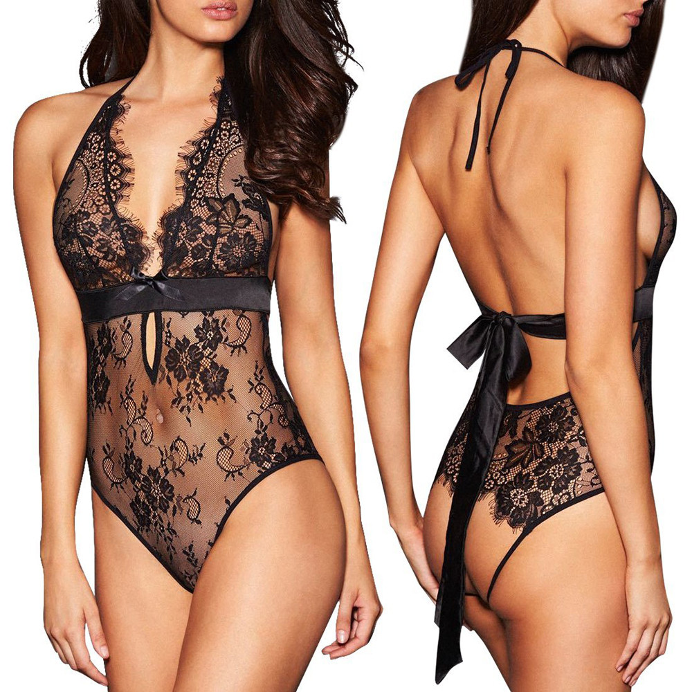 Sexy Lingerie Backless Lace Babydoll Open Crotch Underwear Black Lingerie Rhinestone Bra Straps Extenders Shoulder Cross New A30(China)