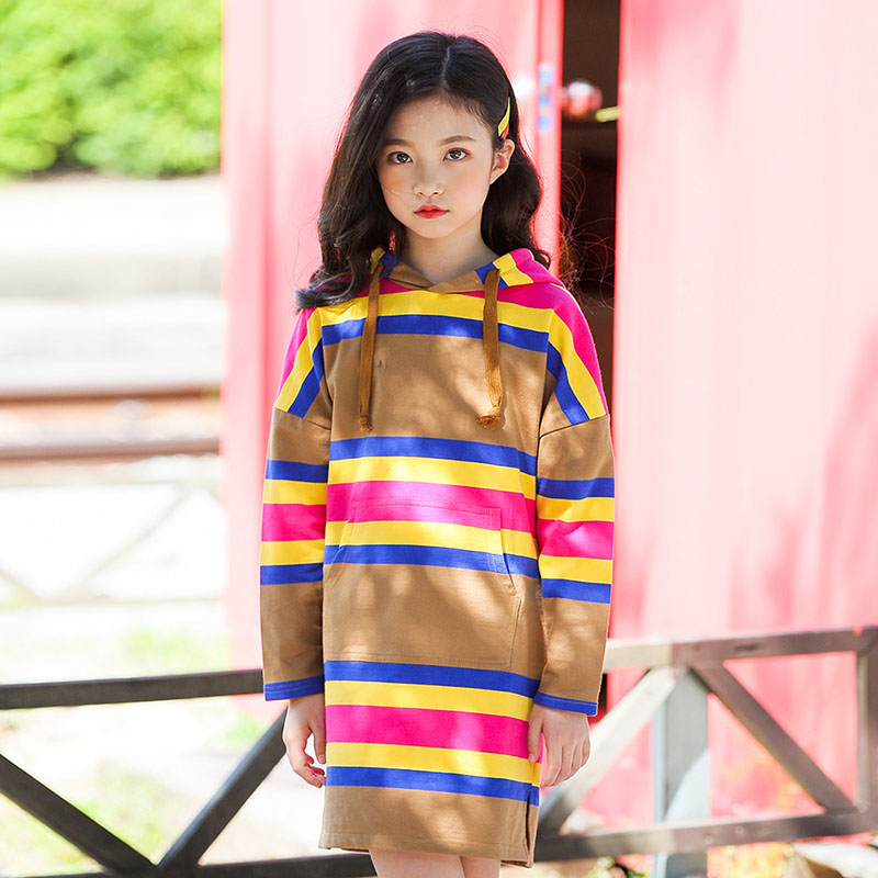 long sleeve striped hooded hoodie dresses for teenage girls cotton straight dress baby big girls casual autumn sweatshirts dress