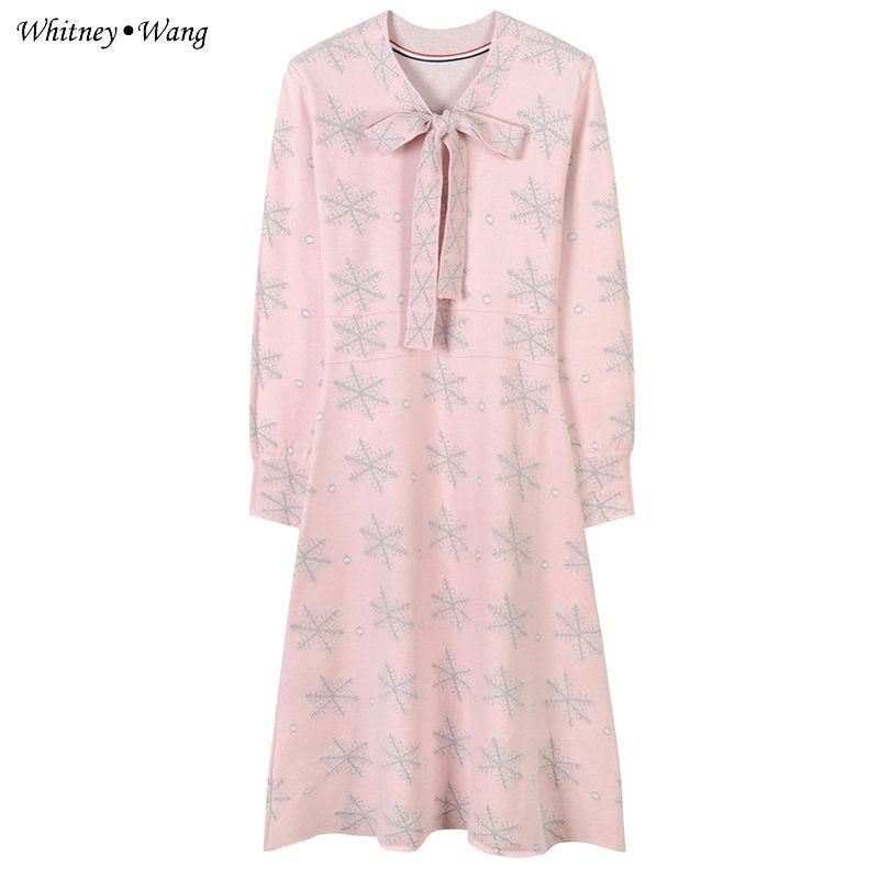 Wang Broderie Femmes Automne Robe Brillant Neige Streetwear Tricoté 2018 Élégant Printemps Whitney Mode Bqfwf6