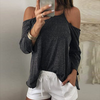 Spring Autumn Women Fashion 100% Cotton T Shirts Casual Tops Off The Shoulder T-shirt
