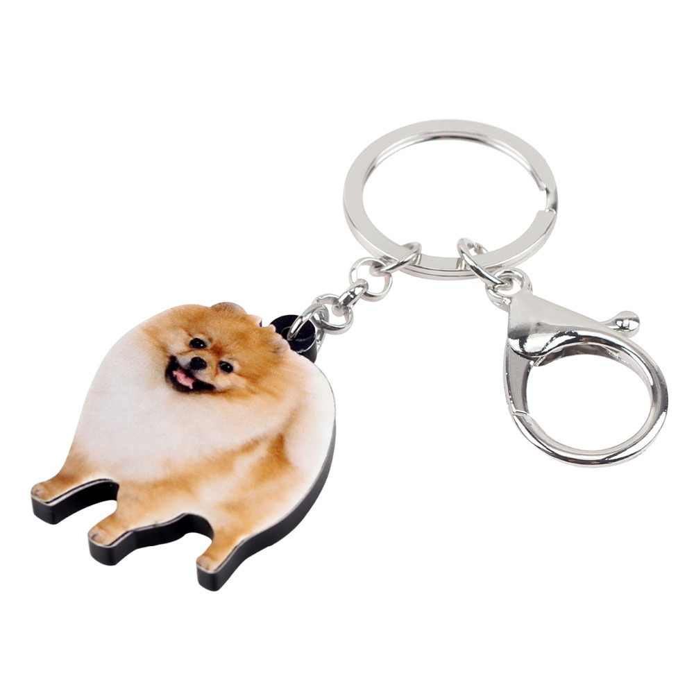 Bonsny oświadczenie akrylowe Happy pomeranian pies breloczki brelok pierścionki biżuteria dla kobiet dziewczynki torebka damska prezent z wdziękiem