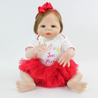55cm Full Body Silicone Reborn Girl Baby Doll Toy Soft Vinyl Newborn Princess Babies Like Alive Bebe Child Bathe Bonecas Reborn