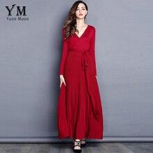 Yuoomuoo Новое поступление брендовые модные элегантные Для женщин осень платье v-образным вырезом плиссированные длинное платье Европейский высокое качество вязаное платье Макси