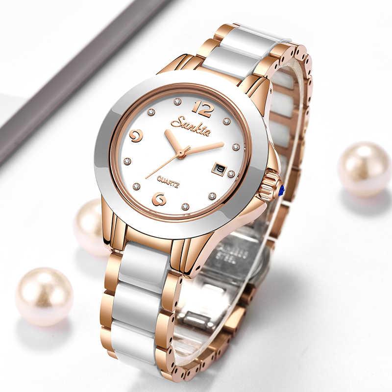 2019New SUNKTA relojes de mujer de lujo a prueba de agua reloj de mujer de acero inoxidable reloj de vestir a la moda